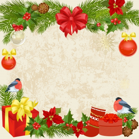 Christmas garland with birds Vector