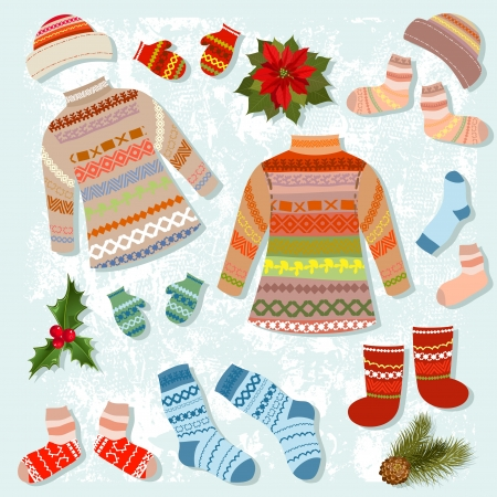 set of warm winter clothing Vector