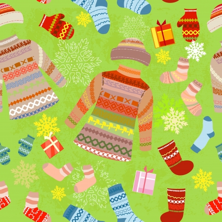 warm clothes: Christmas seamless background with warm clothes