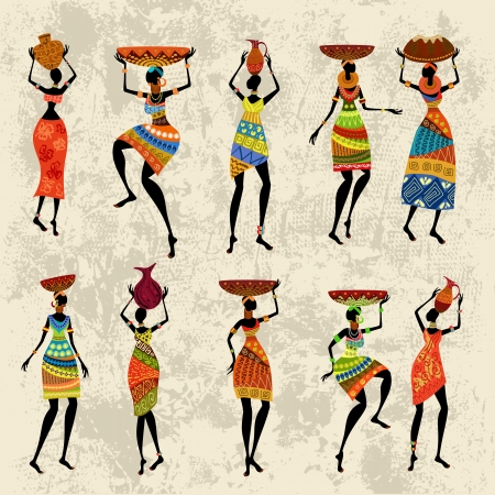 African woman on grunge background Vector