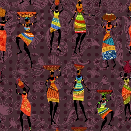 african fabric: seamless background of African women Illustration