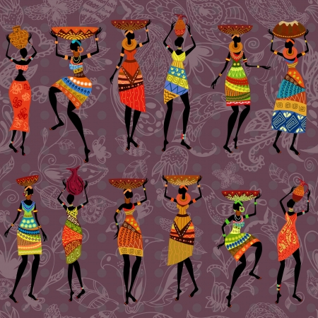 seamless background of African women Illustration