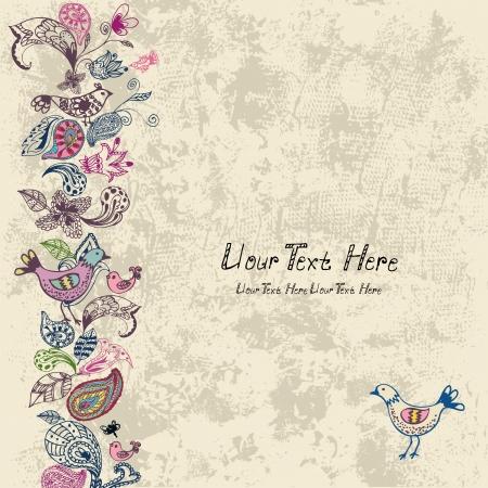 grunge leaf: Old grunge frame with flowers and birds Illustration