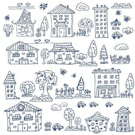 house sketch: doodle set of house tree Illustration