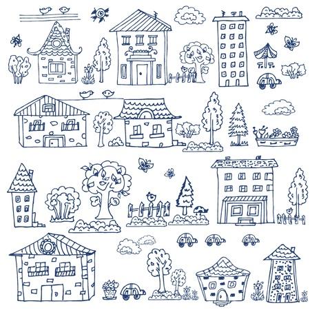 cartoon trees: doodle set of house tree Illustration