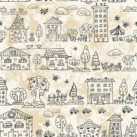 cute doodle: seamless background of city doodle grunge