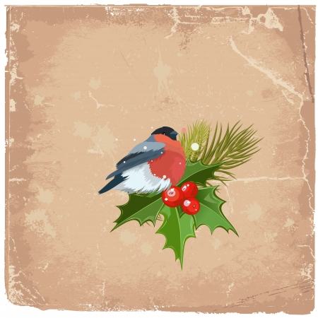 Old grunge card on Christmas with a bird Vector