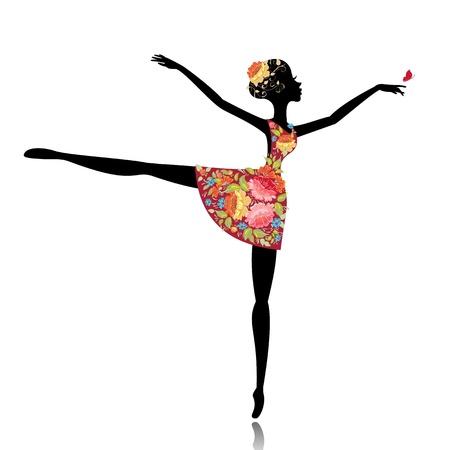 hand movement: ballerina in a flower dress Illustration