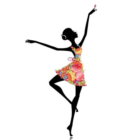 bailarines silueta: bailarina en un vestido de flores