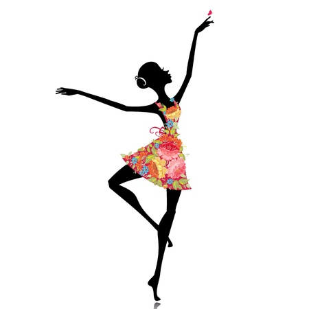 dancer silhouette: ballerina in a flower dress Illustration