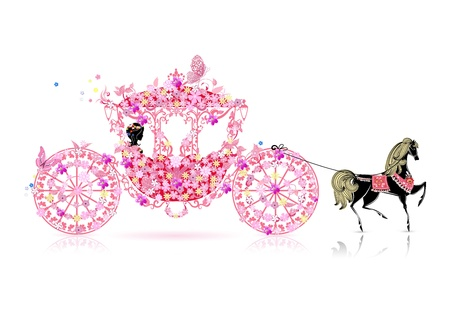 royal invitation: vintage floral carriage