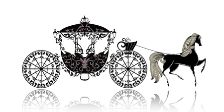 vintage carriage with horse Vector