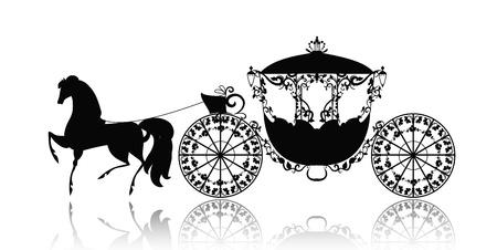 silhouette vintage d'une voiture à cheval Vecteurs