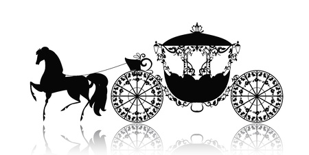 vintage silhouet van een paard en wagen Vector Illustratie