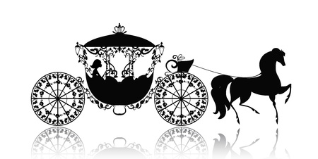 victorian lady: vintage silhouette of a horse carriage