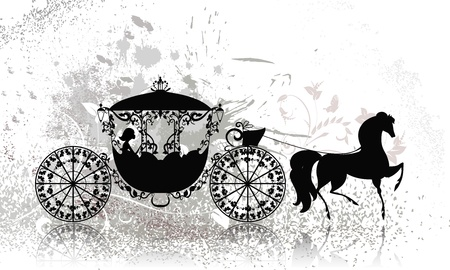 beautiful cinderella: vintage carriage with horse grunge