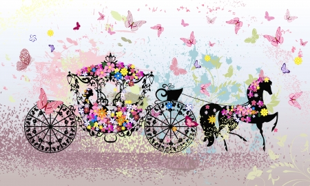 fairytale background: vintage floral carriage
