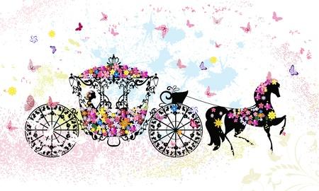 Vintage floral chariot Vecteurs