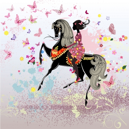 horse riding: Beautiful Girl riding a horse Illustration