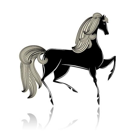 Stylized black beautiful horse Stock Vector - 16188503