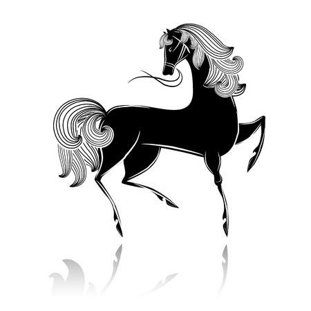 Stylized black beautiful horse Stock Vector - 16188498