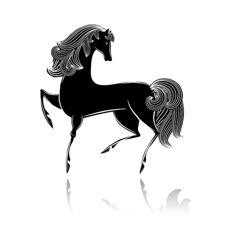 Stylized black beautiful horse Vector