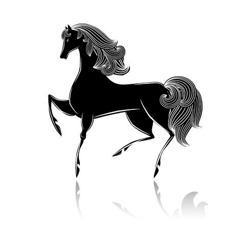 Stylized black beautiful horse Stock Vector - 16188497