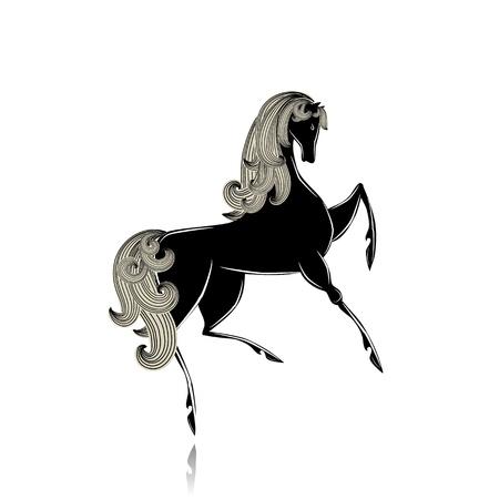 Stylized black beautiful horse Stock Vector - 16188500