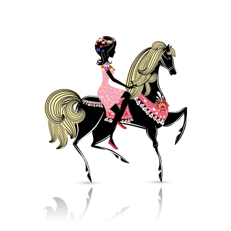 Beautiful Girl riding a horse Illustration