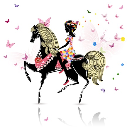 butterfly and women: Beautiful Girl riding a horse Illustration
