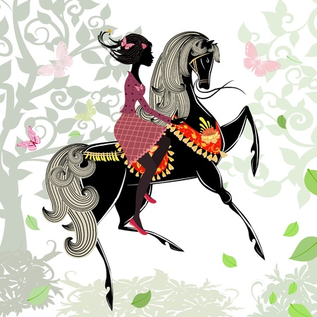 Beautiful Girl riding a horse Illustration