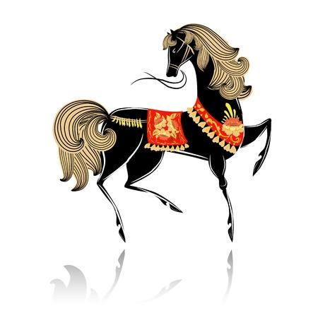 Decorative beautiful horse Khokhloma Stock Vector - 16188504