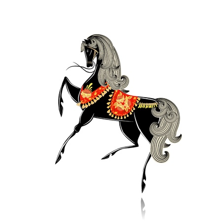 Decorative beautiful horse Khokhloma Vector