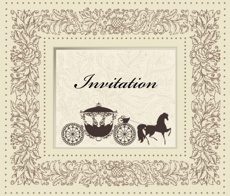 old horse: card design with vintage carriage