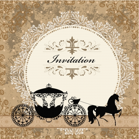 anniversary vintage: card design with vintage carriage