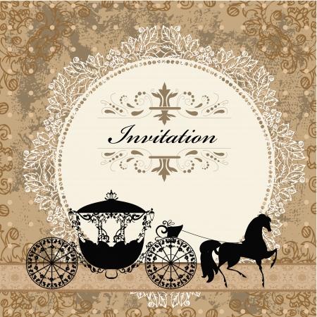 vintage poster: card design with vintage carriage