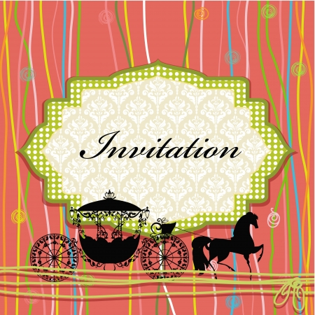 royal wedding: card design with vintage carriage