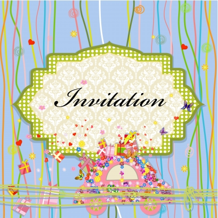 antique car: Invitation to car with celebratory gift