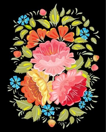 traditions: Flower ornamet style Khokhloma Illustration
