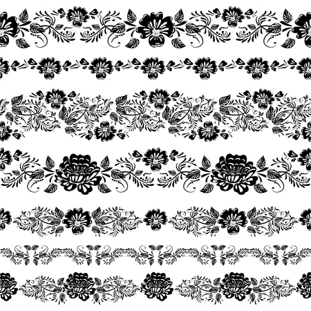 isolated flower: floral border set