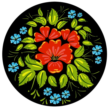 craft ornament: Flower ornamet style Khokhloma Illustration