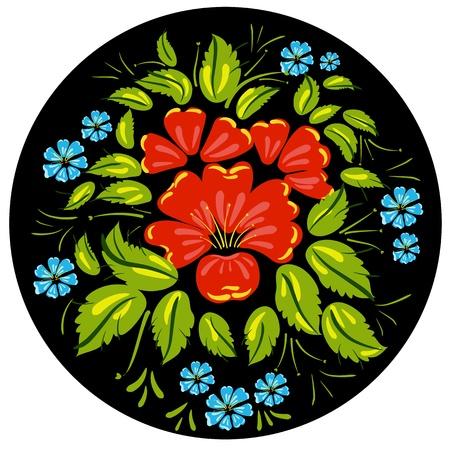 russian tradition: Flower ornamet style Khokhloma Illustration