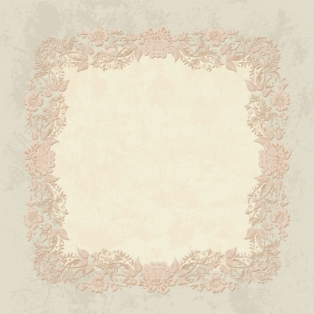 victorian border: Vintage foliage frame grunge Illustration