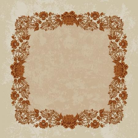 Vintage foliage frame grunge Vector