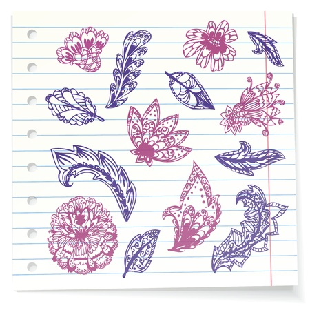 ornamental scroll: Notebook paper doodles Illustration