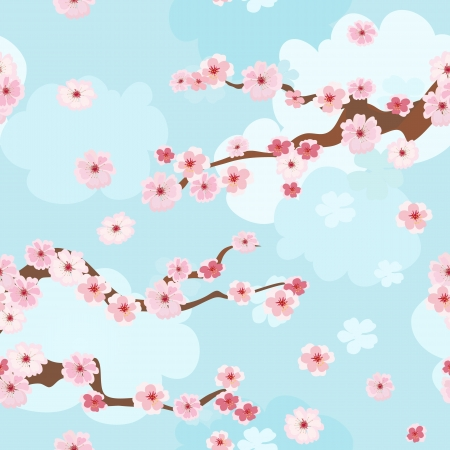 cherry blossoms background seamless Vector