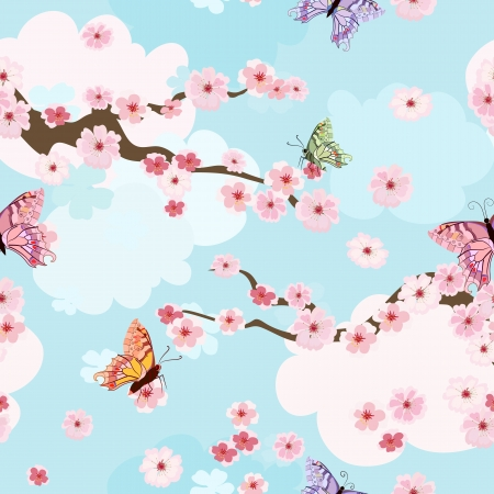 seamless sky: cherry blossoms background seamless