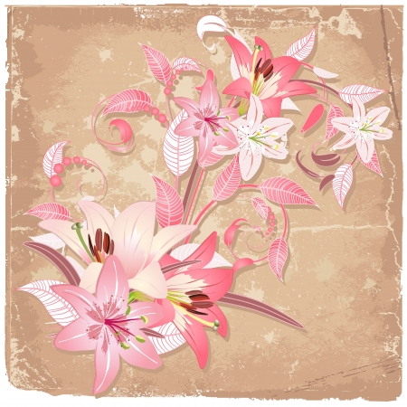 flower border pink: Vintage background with blooming with lilies Illustration