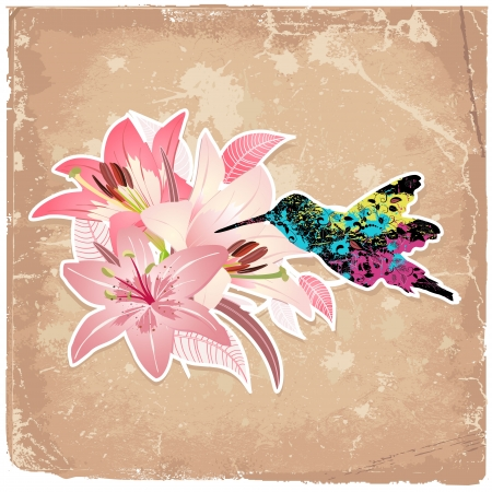Vintage background with blooming with lilies and bird Vector