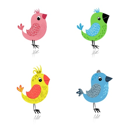 cartoon birds: set cartoon birds